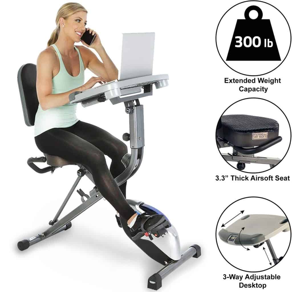 EXERPEUTIC EXERWORK 1000 Desk Station Folding Exercise Bike with Pulse Measurement